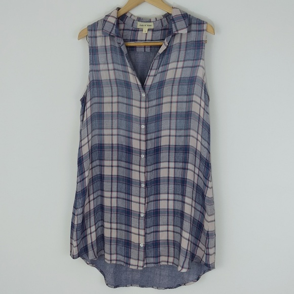 678e3093c80 Anthropologie Dresses   Skirts - Cloth   Stone Plaid Sleeveless Tunic Shirt  Dress